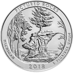 America The Beautiful Pictured Rocks Silver 2018